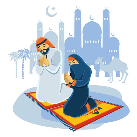 hombre orando: Orar musulmán concepto de hombre y mujer con el camello y la mezquita ilustración vectorial plana