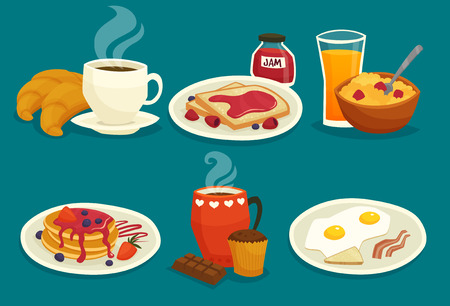 toast: Set of light breakfast icons made in cartoon  style isolated vector illustration