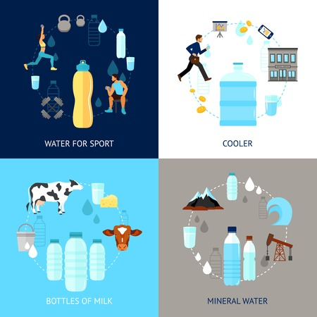 water cooler: Plastic bottle design concept set with mineral water for sport flat icons isolated vector illustration