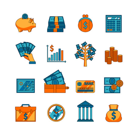 thrift: Electronic and traditional methods of money saving  deposit and transfer flat icons set abstract vector isolated illustration Illustration