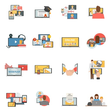Web conferences meetings and seminars flat icons collection of online webinars trainings participants abstract isolated vector illustration Illustration