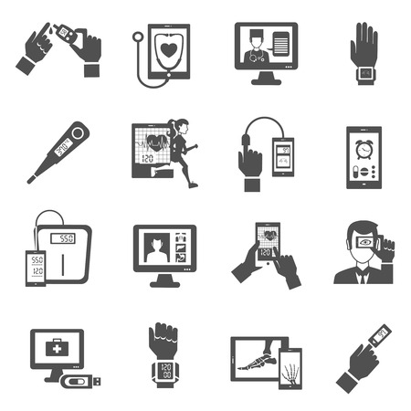 Digital health black icons set with medical diagnostics symbols isolated vector illustration Çizim