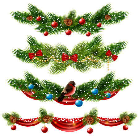 Christmas realistic borders set with pine tree and decorations isolated vector illustration