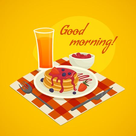 vaso de jugo: Desayuno concepto de diseño con un vaso de jugo de naranja plato de panqueques y buenos días deseen ilustración vectorial