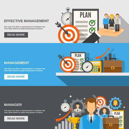 effective: Management horizontal banner set with effective manager flat elements isolated vector illustration