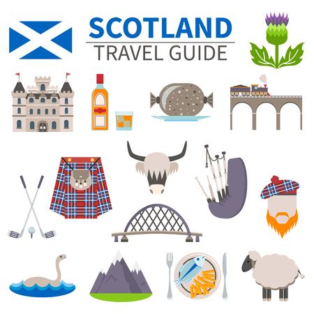 스코틀랜드 여행 아이콘의 문화와 전통을 상징 평면 고립 된 벡터 일러스트 레이 션 설정