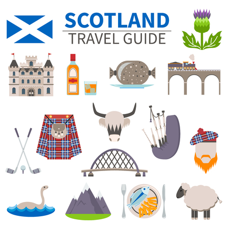 Scotland travel icons set with culture and traditions symbols flat isolated vector illustration Çizim