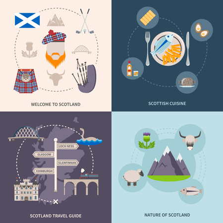 highland: Scotland travel guide icons set with cuisine and nature symbols flat isolated vector illustration Illustration