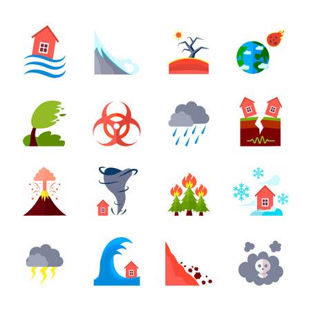 De style coloré icônes plates ensemble de différentes catastrophes naturelles et de la civilisation négative effets isolé illustration vectorielle