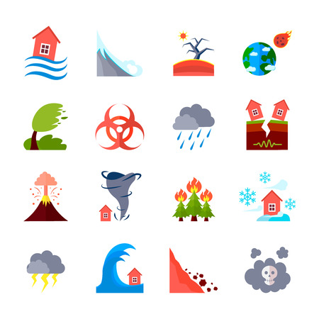 flood: Flat style colored icons set of different natural disasters and civilization negative effects isolated vector illustration Illustration