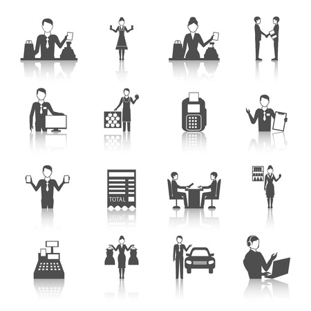 salesmen: Different salesmen figures icons set drawn in monochrome flat style with reflections isolated vector illustration