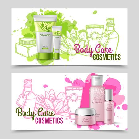 cosmeticos: Colección de lujo El cuidado del cuerpo actual conjunto y aislada eco verde productos cosméticos 2 banners resumen ilustración vectorial