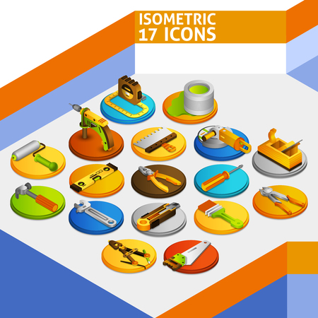 screw jack: DIY tools isometric icons set with 3d paint brush screwdriver knife isolated vector illustration