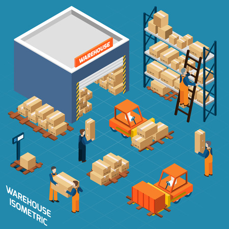 Warehouse isometric icons concept with workers  loading boxes to stacks using forklifts   vector illustration