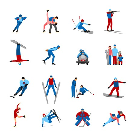 Winter sportsmen set with people on snowboard skies skates isolated vector illustration Illustration