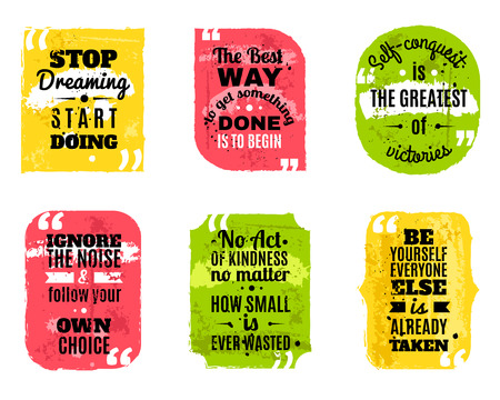 Inspirational famous quotes of wisdom for every day colored textured decorative icons set abstract isolated vector illustration 일러스트