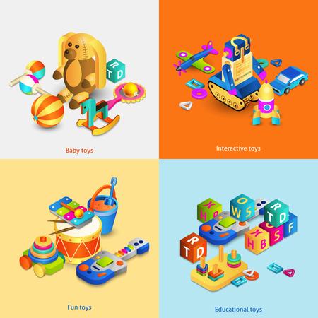 carritos de juguete: Juguetes concepto de dise�o conjunto con beb� isom�trica divertidos juguetes interactivos aislado ilustraci�n vectorial
