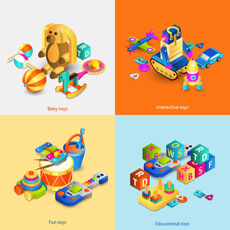 toy car: Toys design concept set with isometric baby fun interactive toys isolated vector illustration