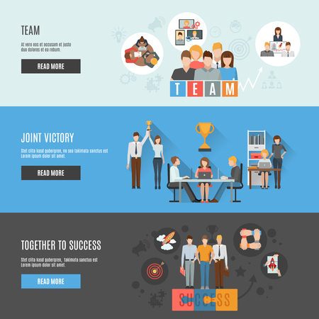 great success: Interactive homepage of business teamwork strategies for achieving great success flat banners set abstract isolated vector illustration Illustration