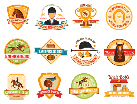 Jockey  color emblems set with  horse riding equipment and race  isolated vector illustration. Illustration