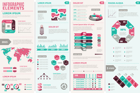 charts and graphs: Infographic design set with elements charts and graphs flat isolated vector illustration