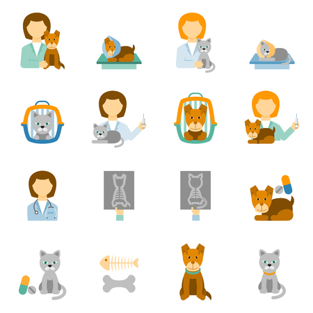 surgery concept: Veterinary clinic for pets with proper feeding and prophylactic treatment flat icons set abstract isolated vector illustration
