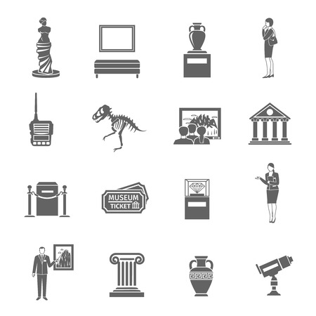 museums: Museum black icons set with fine art objects and visitors isolated vector illustration
