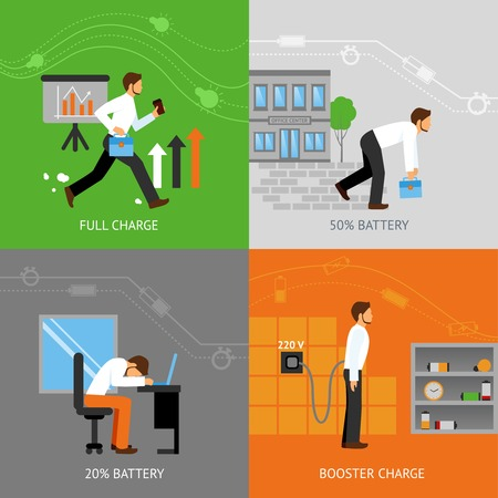 human energy: Businessman energy design concept set with battery charge levels flat icons isolated vector illustration Illustration