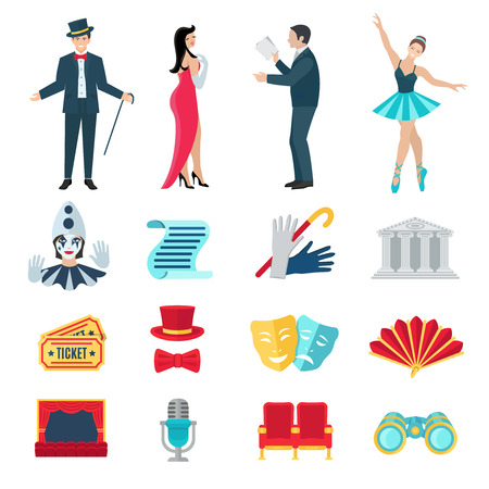 performance art: Theater flat icons set with drama and music performance symbols isolated vector illustration Illustration