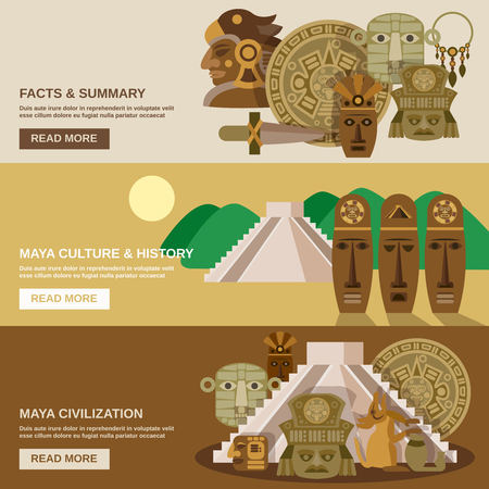 ancient civilization: Maya horizontal banner set with indian civilization elements isolated vector illustration Illustration