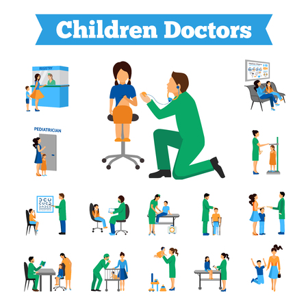 convalescence: Children doctor and little patients flat icons set isolated vector illustration