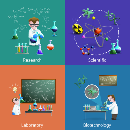 biochemistry: Icons set with scientists conducting experiments in lab  vector illustration