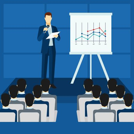 audiences: Public people speaking to audience from  podium  poster flat  vector illustration.