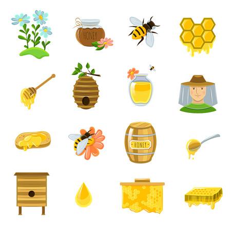 miel de abeja: Iconos de la miel establecidos con las abejas y flores ilustración vectorial aislado plana producto listo