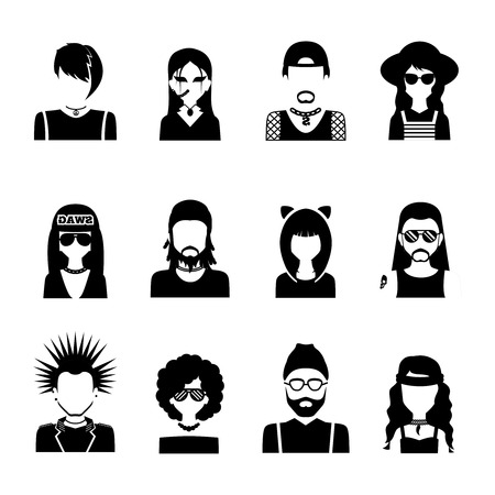 subcultures: Different subcultures people silhouettes black and white icons set isolated vector illustration