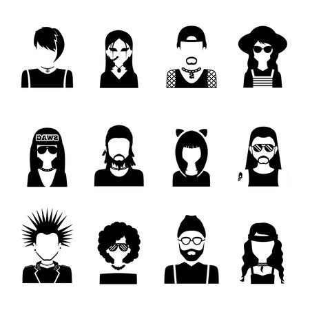 Verschillende subculturen mensen silhouetten zwart-wit pictogrammen instellen geïsoleerde vector illustratie