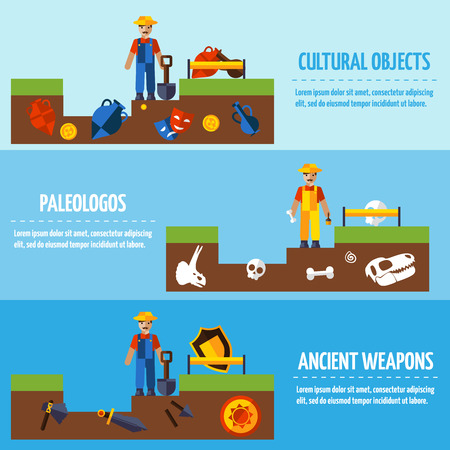 finds: Flat  color horizontal  archeology banners set   with people and different kinds of archaeological finds vector illustration