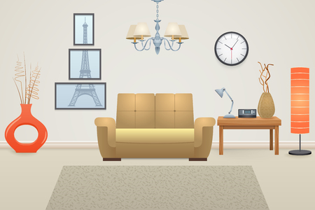 vector illustration: Living room interior concept with furniture and decor elements vector illustration