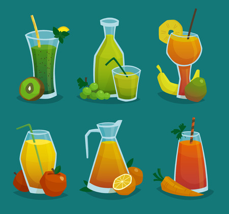 cartoon strawberry: Decorative icons set of pitchers and glasses with fresh juice and  fruits made in cartoon style isolated  vector illustration