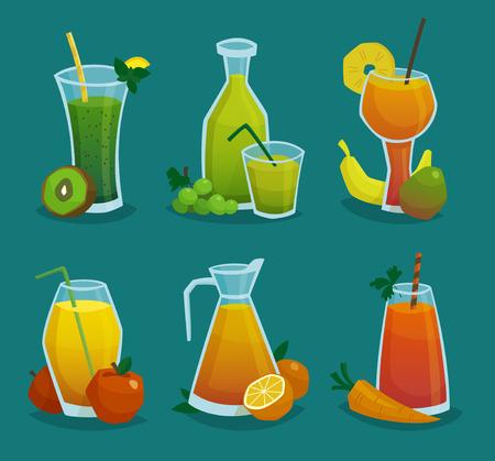zanahoria caricatura: iconos decorativos conjunto de jarras y vasos con jugo fresco y frutas hechas en ilustraci�n vectorial estilo de dibujos animados Vectores