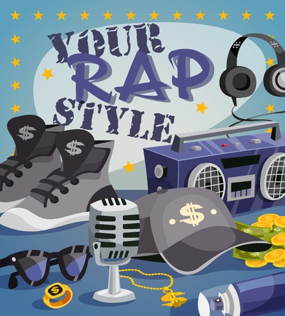 rap music: Rap music concept with cartoon hip-hop style elements vector illustration Illustration