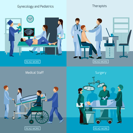 medical treatment: Medical professional 4 flat icons square composition with surgeon and wheel chair patient abstract isolated vector illustration