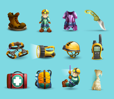 protective wear: Digital cave exploration surveying with speleologist equipment and protective wear 3d icons set abstract vector isolated  illustration