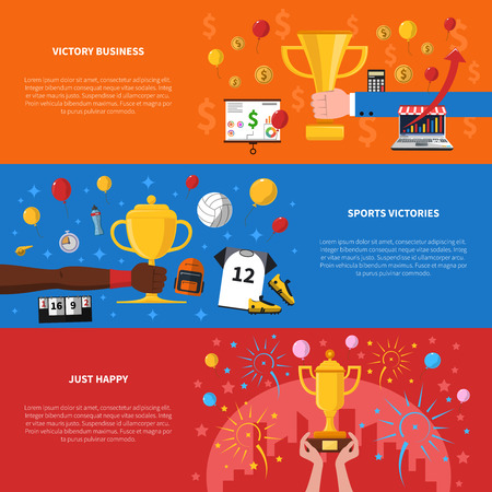 sports backgrounds: Awards horizontal banners set with victory business and sports victories symbols flat isolated vector illustration