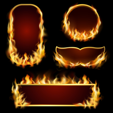 conflagration: Burning fire realistic frames set on black background isolated vector illustration