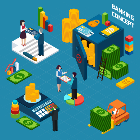 decorative card symbols: Banking  isometric design concept set with employees customers and bank vault vector illustration