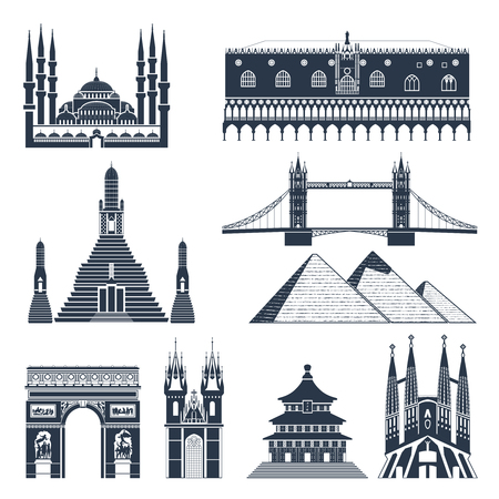 monuments: Landmarks and monuments black flat icons set isolated vector illustration