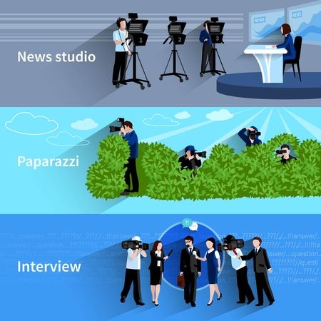 paparazzi: Photographer and videographer horizontal banners set with news studio paparazzi and interview symbols flat isolated vector illustration