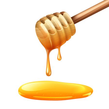 dense: Realistic wooden honey stick with dense yellow drops vector illustration Illustration