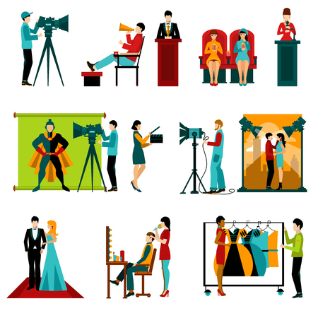 La gente de los personajes de cine personal y la toma de la película fijaron aislado ilustración vectorial Foto de archivo - 48268551